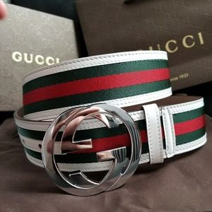 💗NWT Gucci Belt White Green Red Stripes